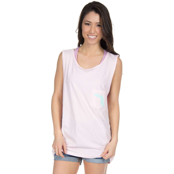 Florida Lovely State Pocket Tank Top in Pink by Lauren James  - 1