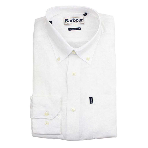 Frank Tailored Fit Button Down in White by Barbour  - 1