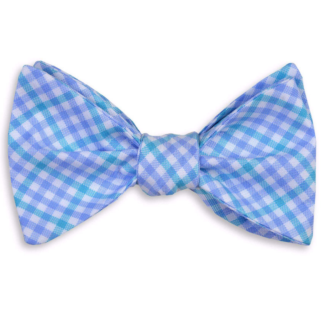 French Quarter Tattersal Bow Tie in Blue & Lavender by High Cotton  - 1