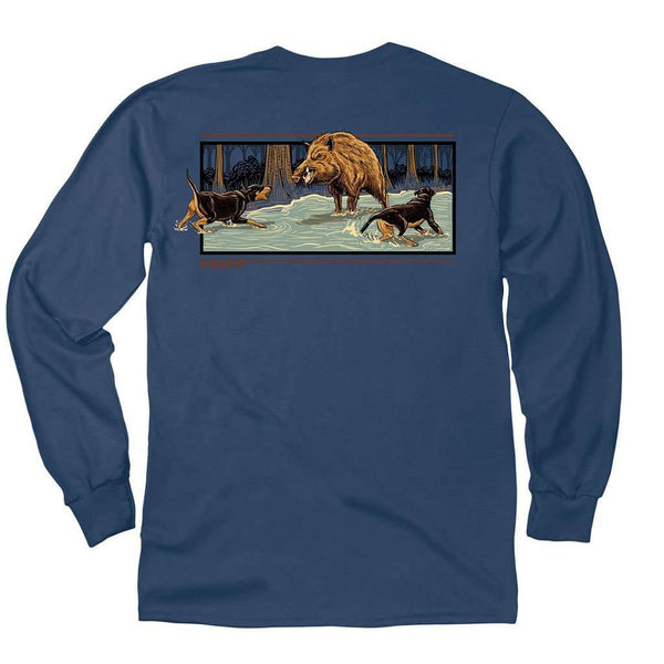 Fripp Outdoors Dogs with Boar Long Sleeve T-Shirt in Navy