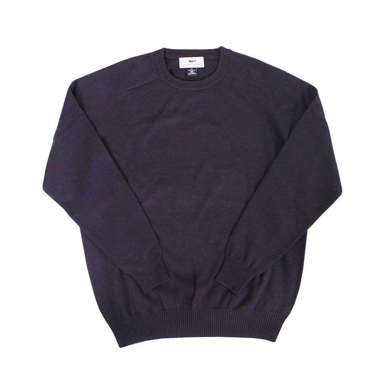 Front Nine Cotton Crew Neck Sweater in Navy by Country Club Prep - FINAL SALE