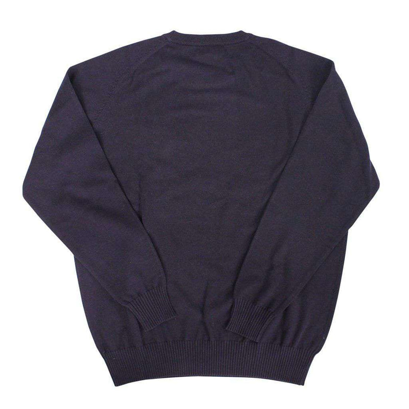 Front Nine Cotton Crew Neck Sweater in Navy by Country Club Prep  - 2