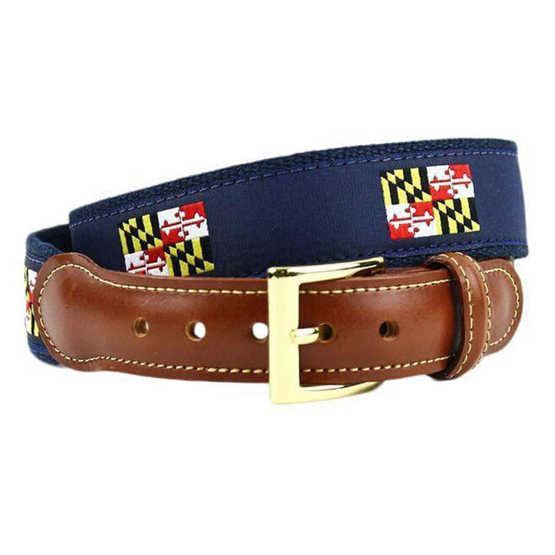 d1beeb125dbbe Maryland Flag Leather Tab Belt in Navy on Navy Canvas by Country Club Prep