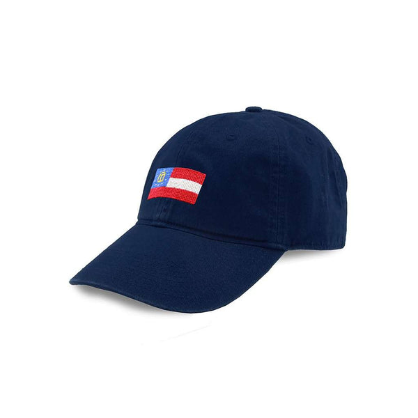 Smathers & Branson Georgia State Flag Needlepoint Hat in Navy