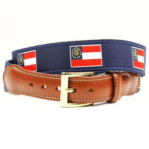Georgia Flag Leather Tab Belt in Navy on Navy Canvas by Country Club Prep