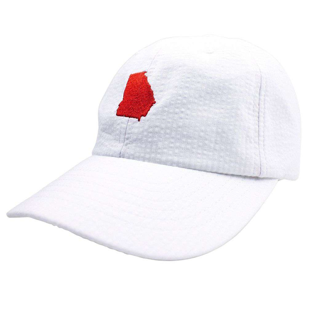 Georgia Seersucker Bow Hat in White with Red by Lauren James  - 1