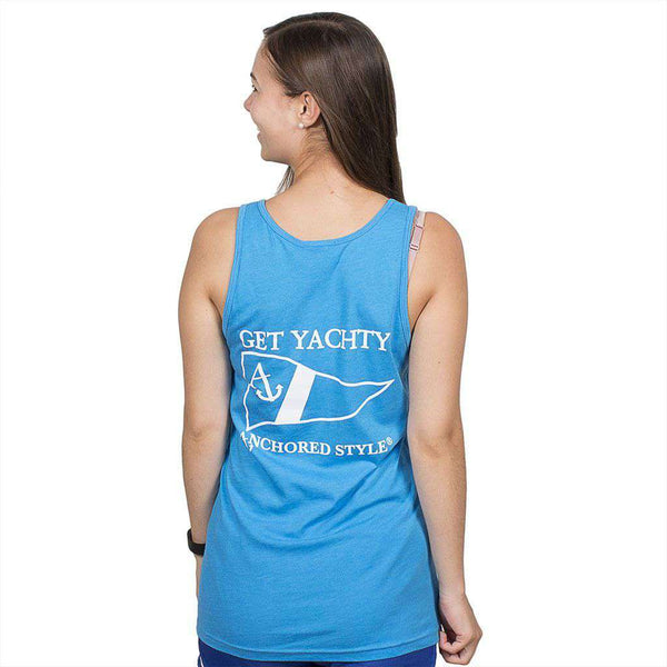Get Yachty Tank Top in Neon Heather Blue by Anchored Style  - 1