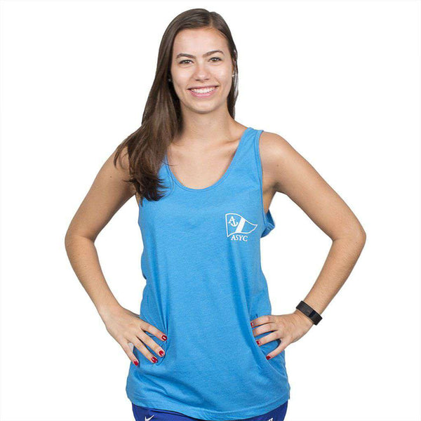 Get Yachty Tank Top in Neon Heather Blue by Anchored Style  - 2