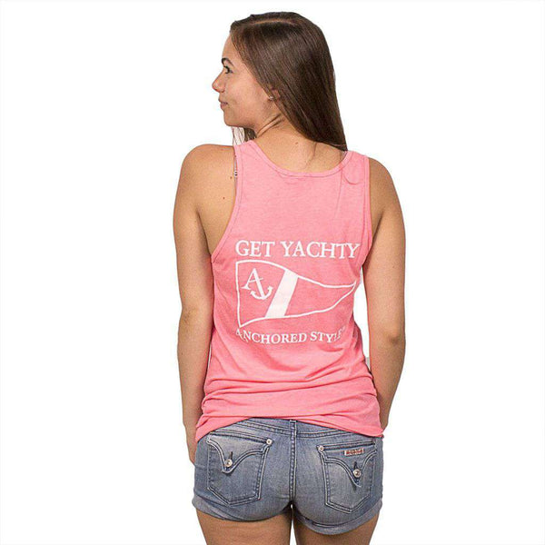 Get Yachty Tank Top in Neon Heather Pink by Anchored Style  - 1