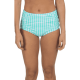 Gingham High-Waisted Bikini Bottom in Aqua by Lauren James  - 2