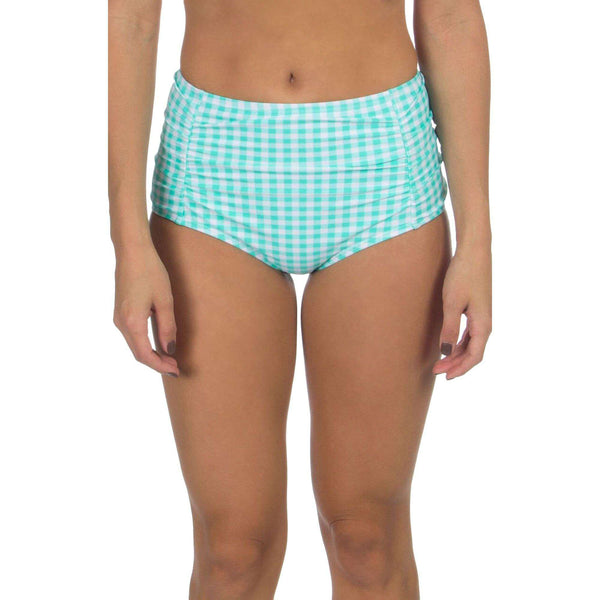 Gingham High-Waisted Bikini Bottom in Aqua by Lauren James  - 1