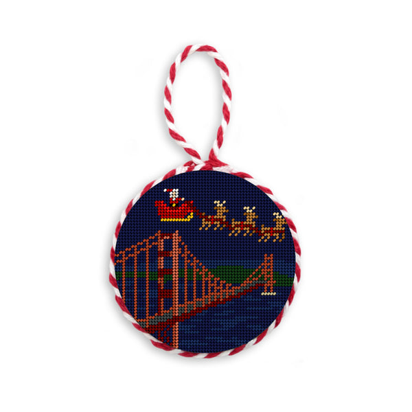 Golden Gate Bridge Santa Scene Needlepoint Ornament by Smathers & Branson