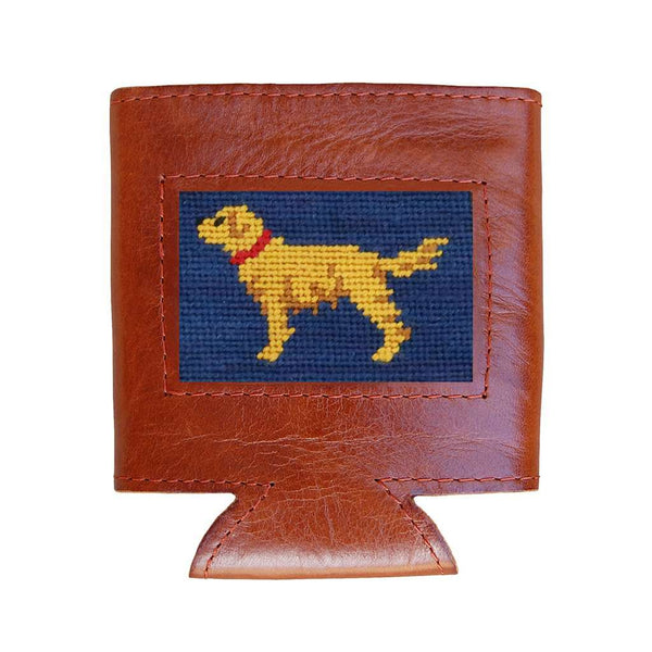Smathers & Branson Golden Retriever Needlepoint Can Cooler in Classic Navy