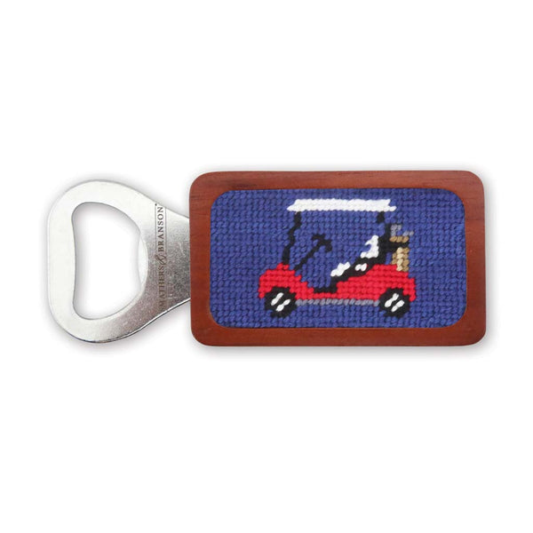 Golf Cart Needlepoint Bottle Opener by Smathers & Branson