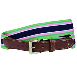 Ribbon Leather Tab Belt in Green, Pink, & Navy Stripes by Country Club Prep