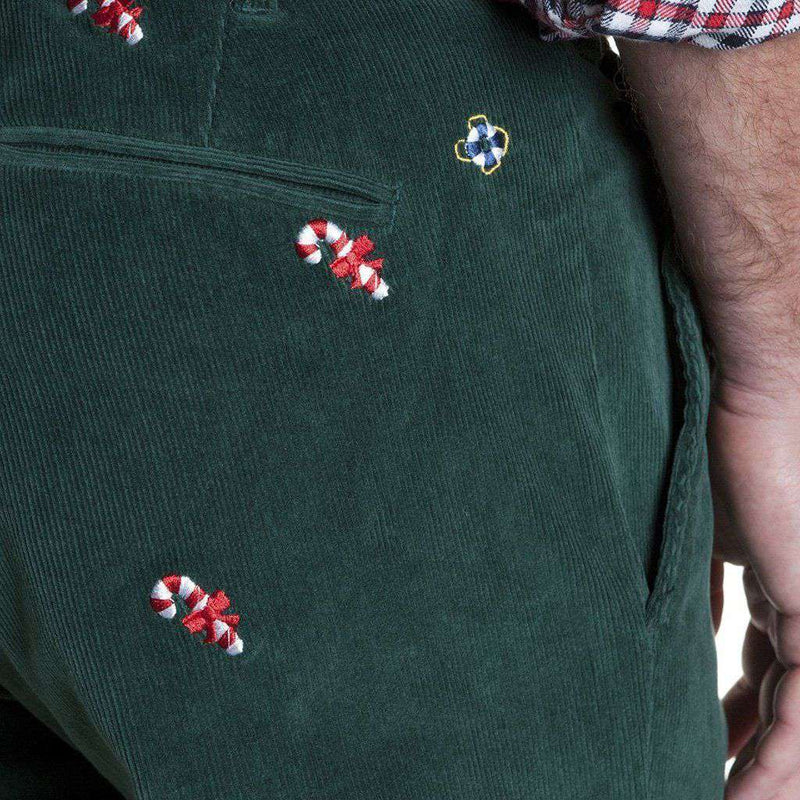 Castaway Clothing Beachcomber Corduroy Pants in Hunter Green with Embroidered Candy Canes by Castaway Clothing