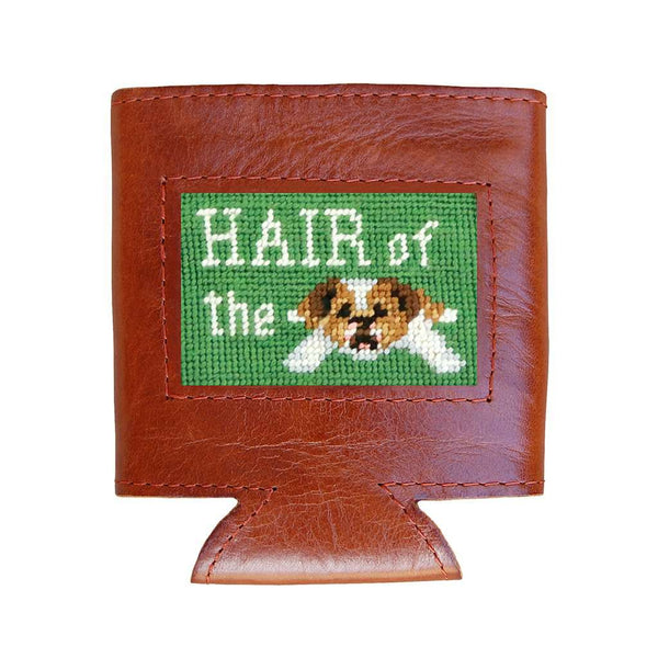 Smathers & Branson Hair of the Dog Needlepoint Can Cooler in Sage
