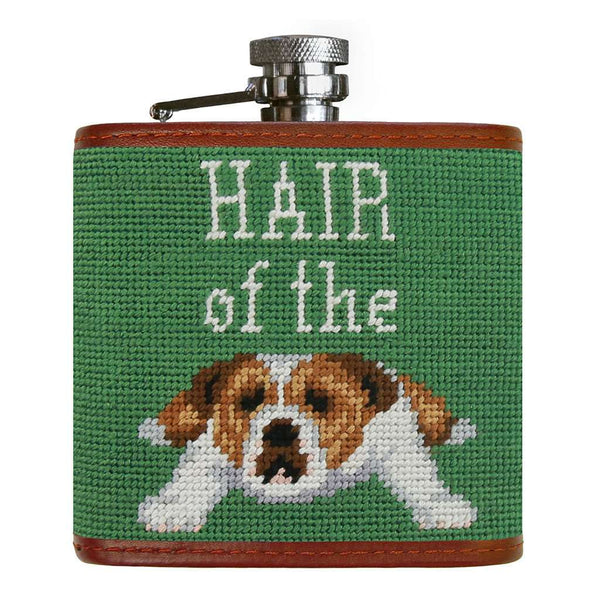 Smathers & Branson Hair of the Dog  Needlepoint Flask in Sage