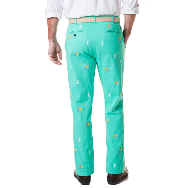 Stretch Twill Harbor Pant with Easter Eggs & Bunnies in Palm Green by Castaway Clothing