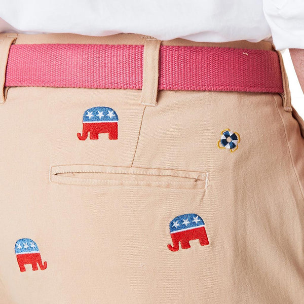 Stretch Twill Harbor Pant with Embroidered GOP Republican Elephant by Castaway Clothing