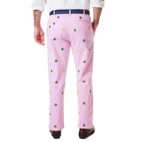 Stretch Twill Harbor Pant with Embroidered Jockey Silks in Pink by Castaway Clothing