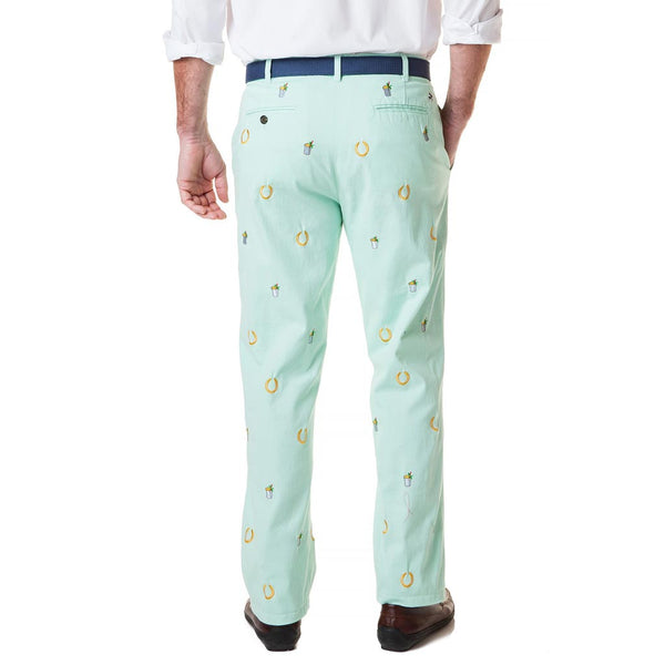 Stretch Twill Harbor Pant with Embroidered Lucky Mint Julep in Mint by Castaway Clothing