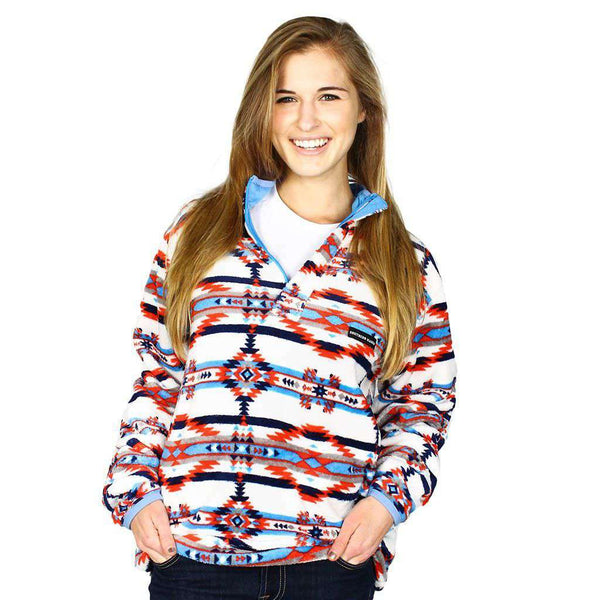 Harbuck Fleece 1/4 Zip Pullover in White and Navy by Southern Marsh  - 1