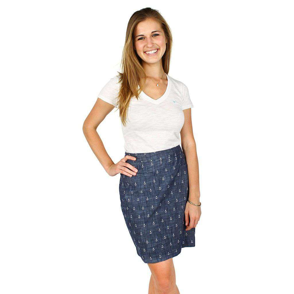 Chambray Anchor Skirt in Blue by Hatley  - 2