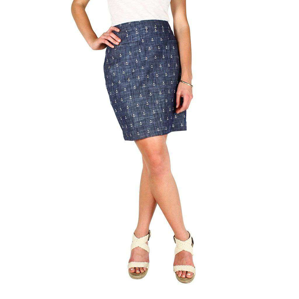 Chambray Anchor Skirt in Blue by Hatley  - 1