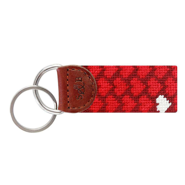 Heart Pattern Needlepoint Key Fob in Garnet by Smathers & Branson
