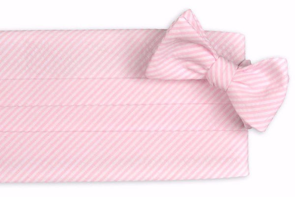 Pink Seersucker Stripe Cummerbund Set by High Cotton