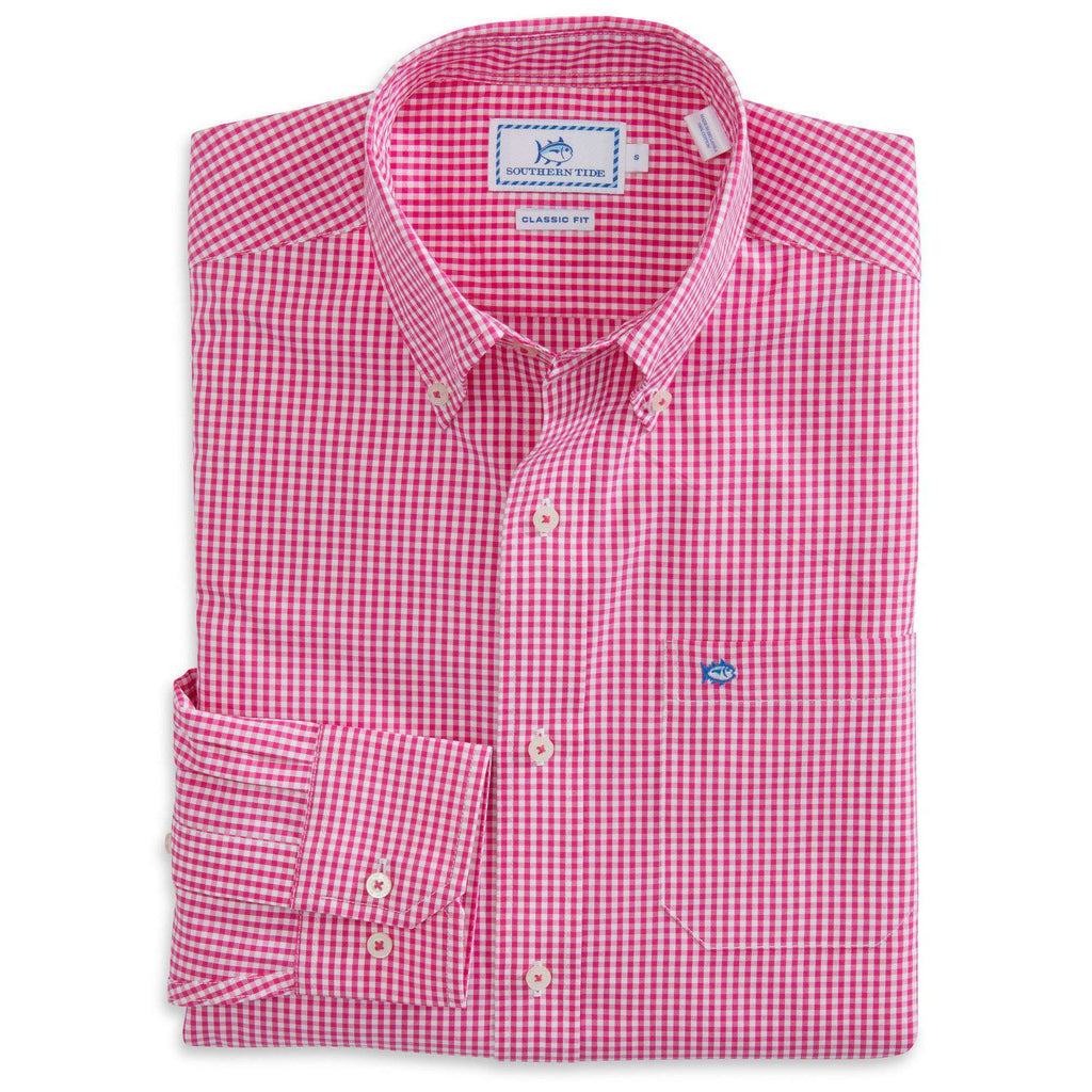 Highgate Check Classic Fit Sport Shirt in Hot Pink by Southern Tide  - 1