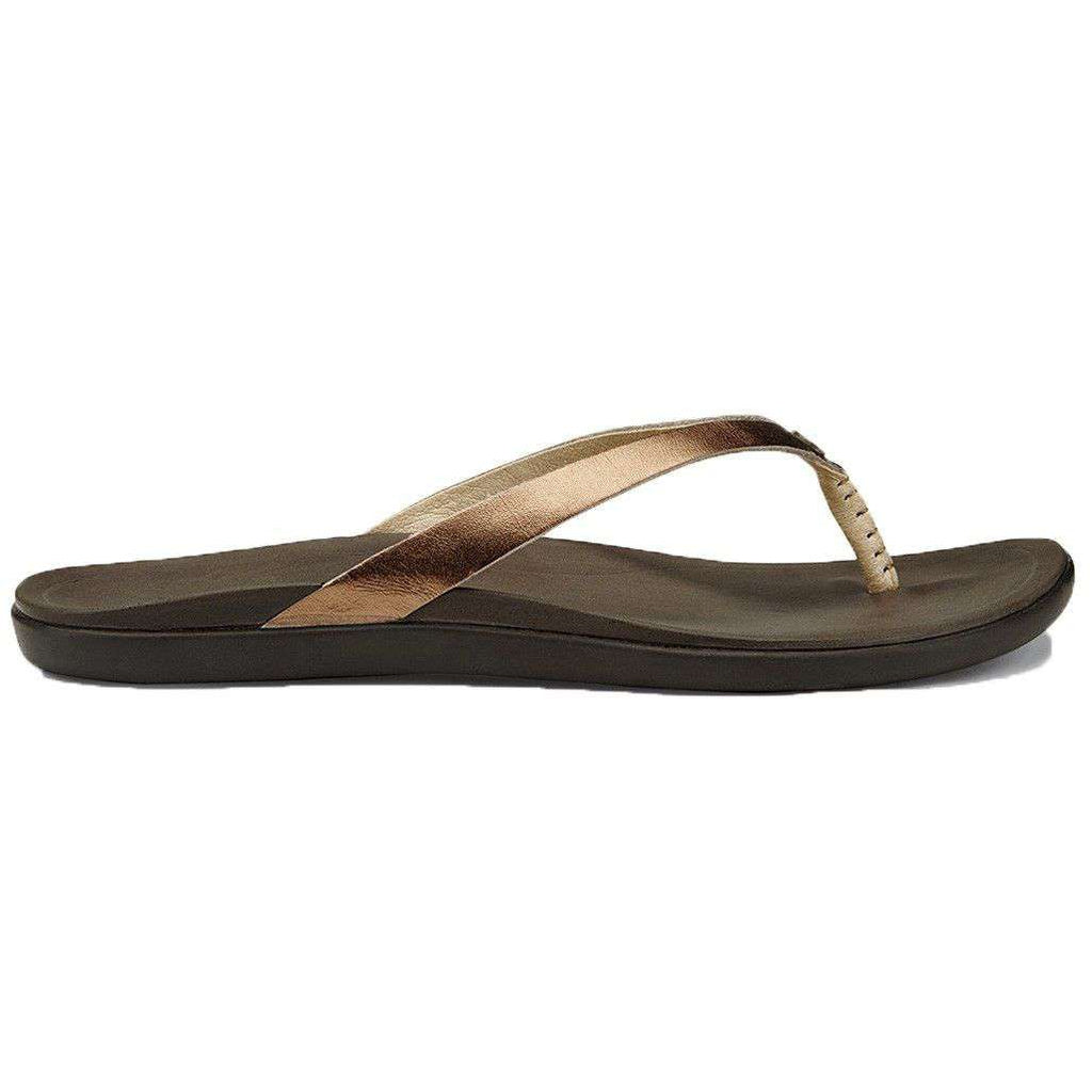Women's Ho'opio Leather Sandal in Bronze & Dark Java Brown by Olukai  - 1