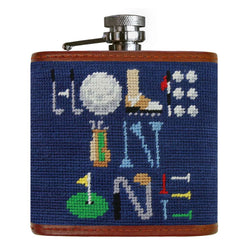 Hole in One Needlepoint Flask in Classic Navy by Smathers & Branson
