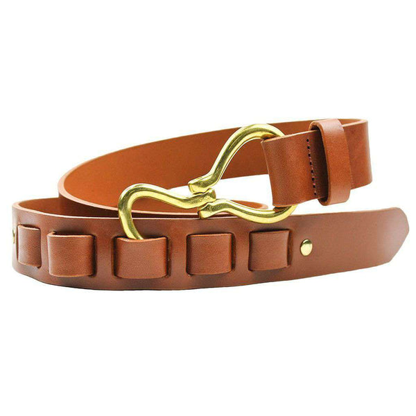 Hoof Pick Leather Belt in Light Brown by Country Club Prep  - 1