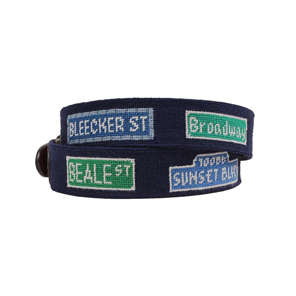 Smathers and Branson Party Streets Needlepoint Belt by Smathers & Branson