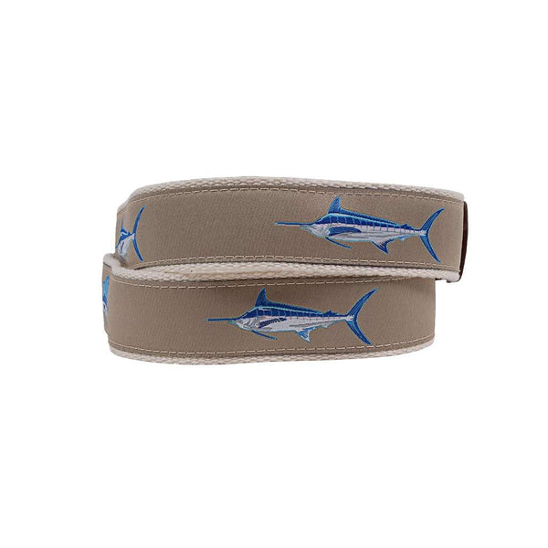 Country Club Prep Speedy Sailfish Leather Tab Belt by Country Club Prep