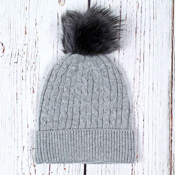 Nordic Fleece Baltic Cable Pom Pom Beanie by Nordic Fleece