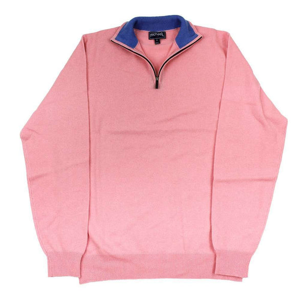 Quarter Zip Cashmere Sweater in Pink by Michael's