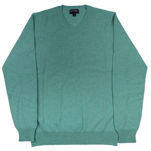 Cashmere V-Neck Sweater in Aqua by Michael's
