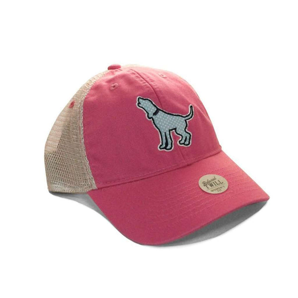 Polka Hound Trucker Hat in Dark Pink by Southern Fried Cotton