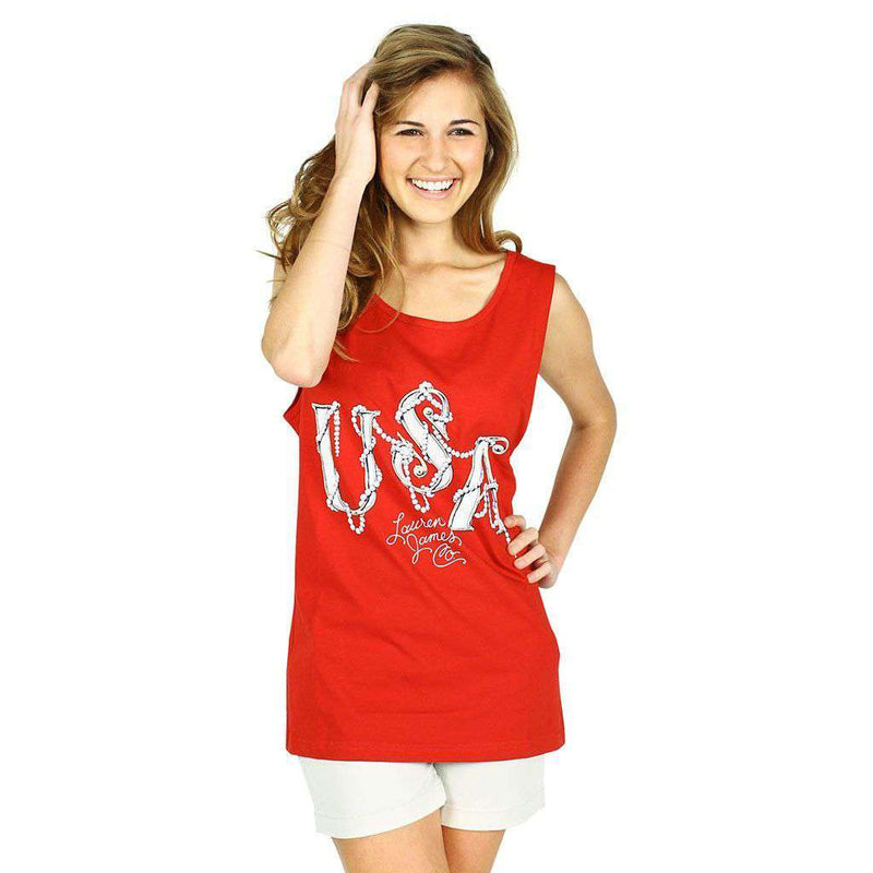 USA Pearl Tank Top in Red by Lauren James  - 1