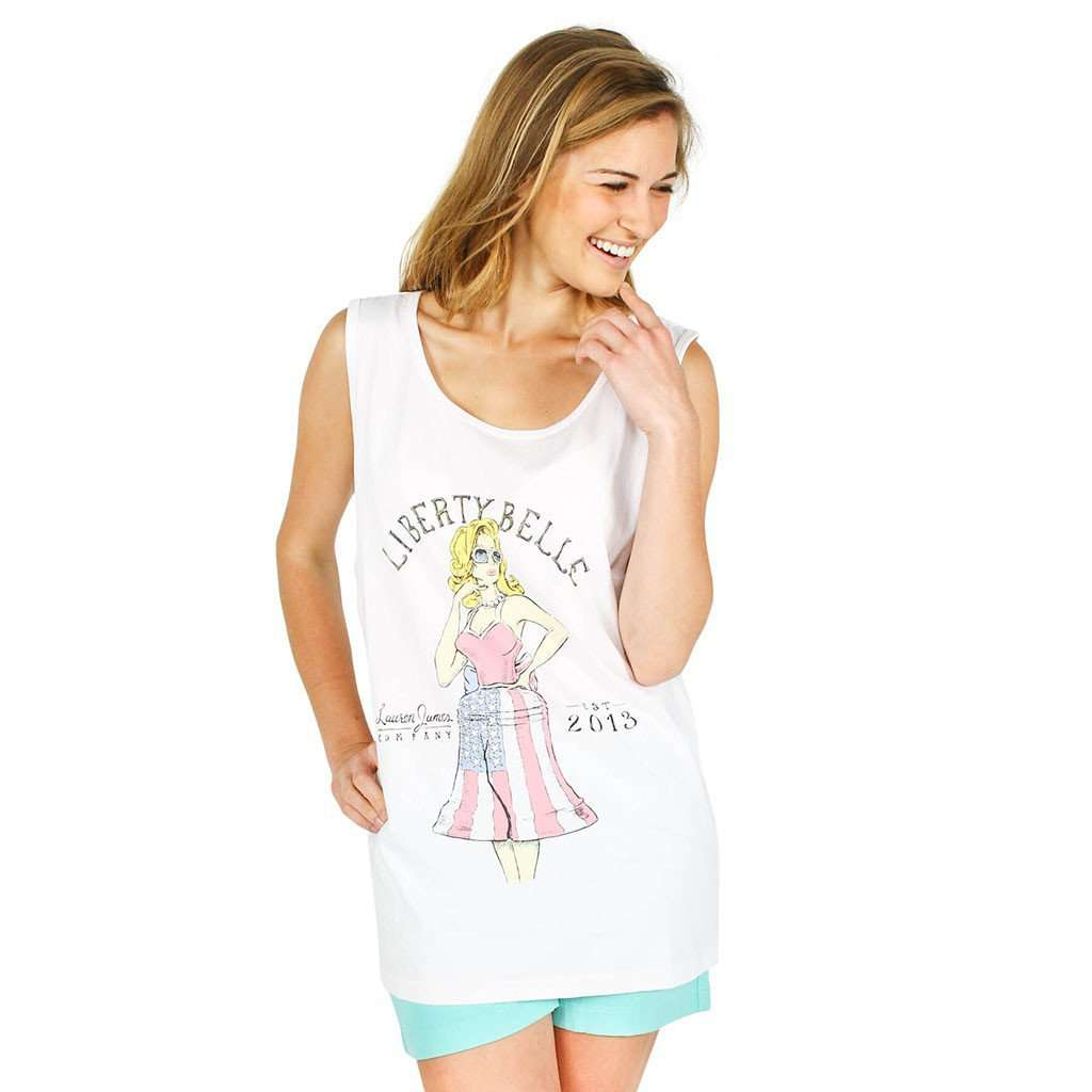 Liberty Belle Tank Top in White by Lauren James  - 1