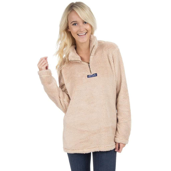 Linden Sherpa Pullover in Sand Brown by Lauren James  - 1