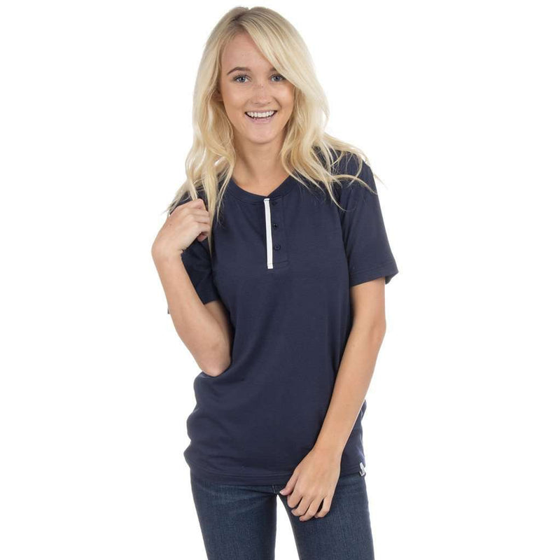 Short Sleeve Henley Tee in Sailor Navy by Lauren James