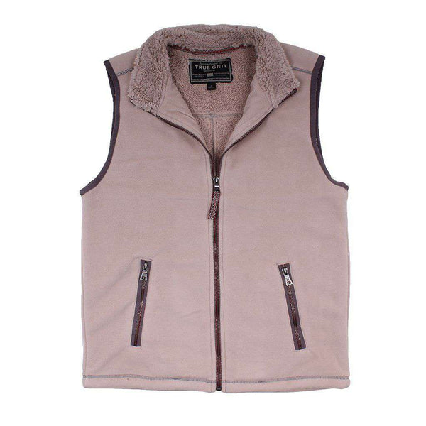 True Grit Bonded Polar Fleece & Sherpa Lined Vest in Sand