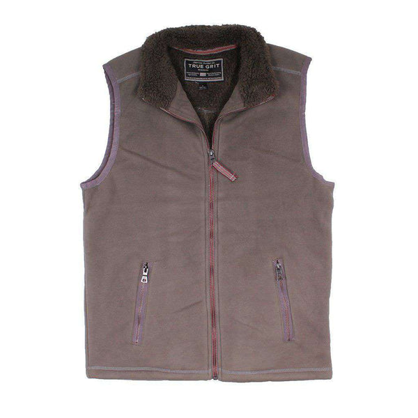 True Grit Bonded Polar Fleece & Sherpa Lined Vest in Vintage Olive