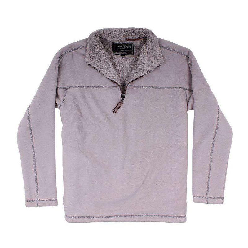 True Grit Bonded Polar Fleece & Sherpa Lined 1/4 Zip Pullover in Faded Heather