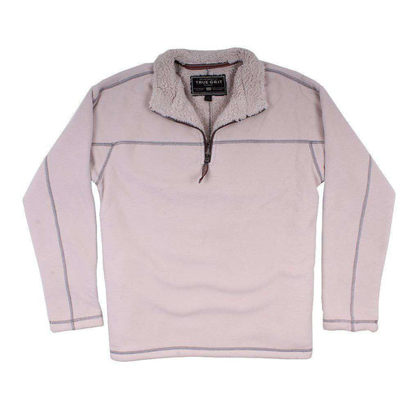 True Grit Bonded Polar Fleece & Sherpa Lined 1/4 Zip Pullover in Ivory