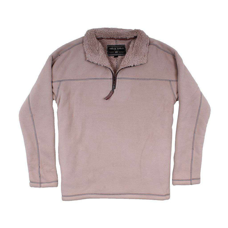 True Grit Bonded Polar Fleece & Sherpa Lined 1/4 Zip Pullover in Sand
